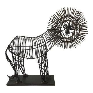 1970s Iron Lion Sculpture For Sale