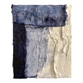 Blue and White Sculptural Abstract Art by Virginia Chamlee For Sale