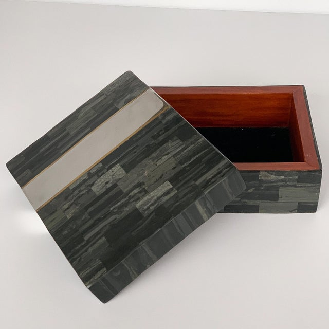 "Designer: Karl Springer USA - Circa 1980s Dimensions: 4.25"" H x 11"" W x 9"" D Condition: Very good vintage condition A..."