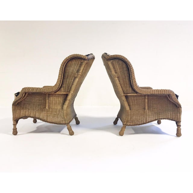 1980s Vintage Ralph Lauren Wicker Wingback Chairs Restored in Zebra Hide - Pair For Sale - Image 5 of 12