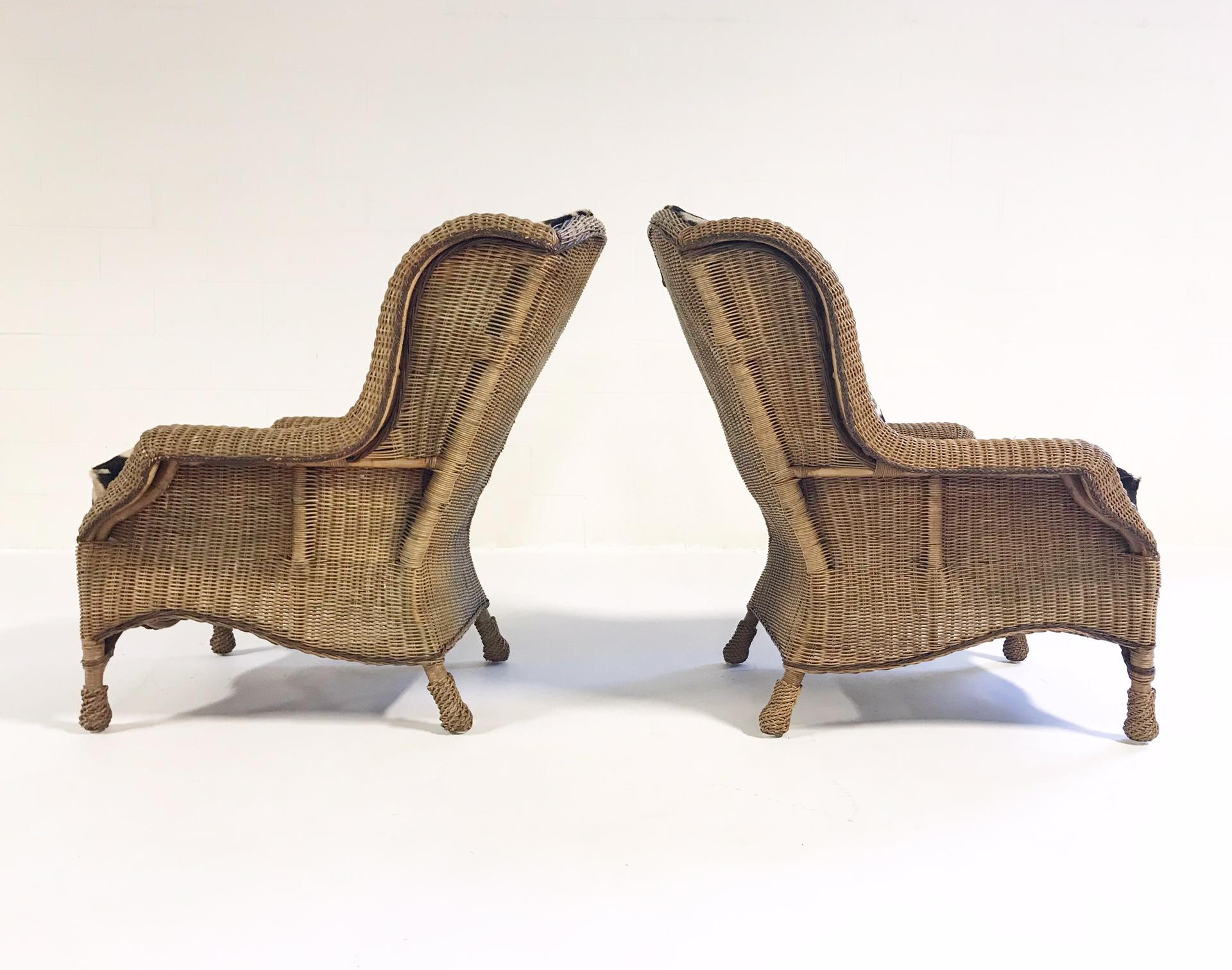 1980s Vintage Ralph Lauren Wicker Wingback Chairs Restored In Zebra Hide    Pair For Sale