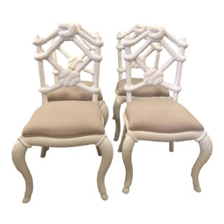 Vintage Nautical White Lacquered Wood Rope Side Dining Chairs -Set of 4