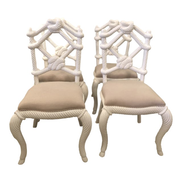 Vintage Nautical White Lacquered Wood Rope Side Dining Chairs -Set of 4 For Sale