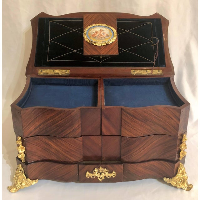 Empire Museum Quality Antique French Napoleon III Sevres Mounted Kingswood and Ormolu Traveling Box Made by Ebeniste, Alphonse Giroux. For Sale - Image 3 of 8