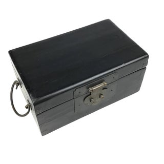 1900s Chinese Antique Black Wood & Brass Money Box For Sale