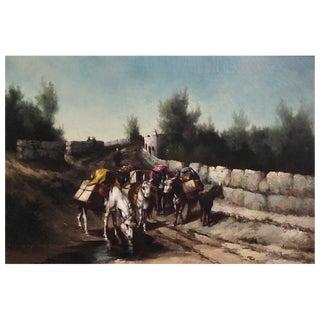 L. Edna Martin Oil Canvas Landscape With Mules 1895 For Sale
