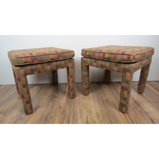 1980s 1980s Vintage Multicolor Parsons Stools - a Pair For Sale - Image 5 of 13