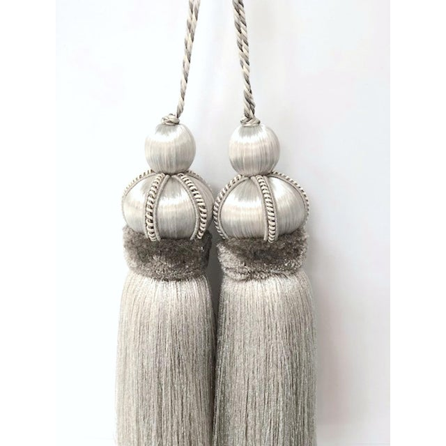 Wood Silver Key Tassels With Cut Ruche - a Pair For Sale - Image 7 of 11