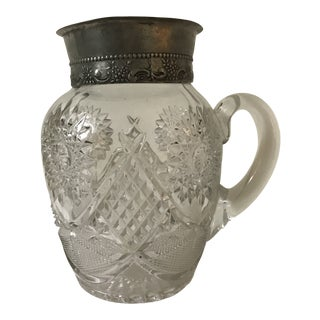 Early 20th Century Silver Rim Farmhouse Country Crystal Water Pitcher For Sale