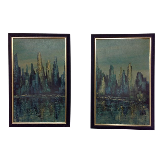 Mid-Century Maio Harbor Diptych Print For Sale