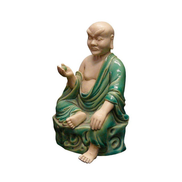 Asian Chinese Handmade Green Ceramic Lo Hon Holding a Bead Seating Statue For Sale - Image 3 of 6