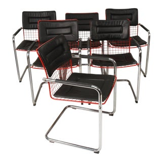 Tmu Style Wire and Chrome Cantilevered Armchairs For Sale
