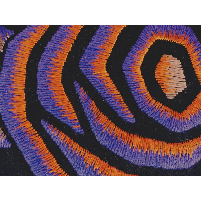 This mounted American art deco tapestry wall hanging is from the 1930's. On a black background, the artist created a...