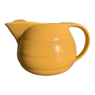 Vintage 1940s Yellow Pottery Pitcher W/Ice Lip by Bauer Pottery For Sale
