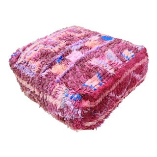 Moroccan Unstuffed Magenta Pouf Cover For Sale
