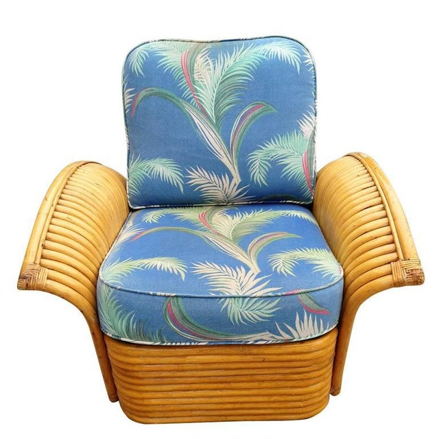 Restored Art Deco Rattan Fan Arm Lounge Chair with Ottoman - Image 5 of 7
