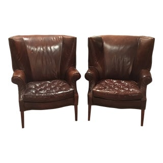 Traditional Restoration Hardware Leather Drake Wingback Chairs - a Pair For Sale