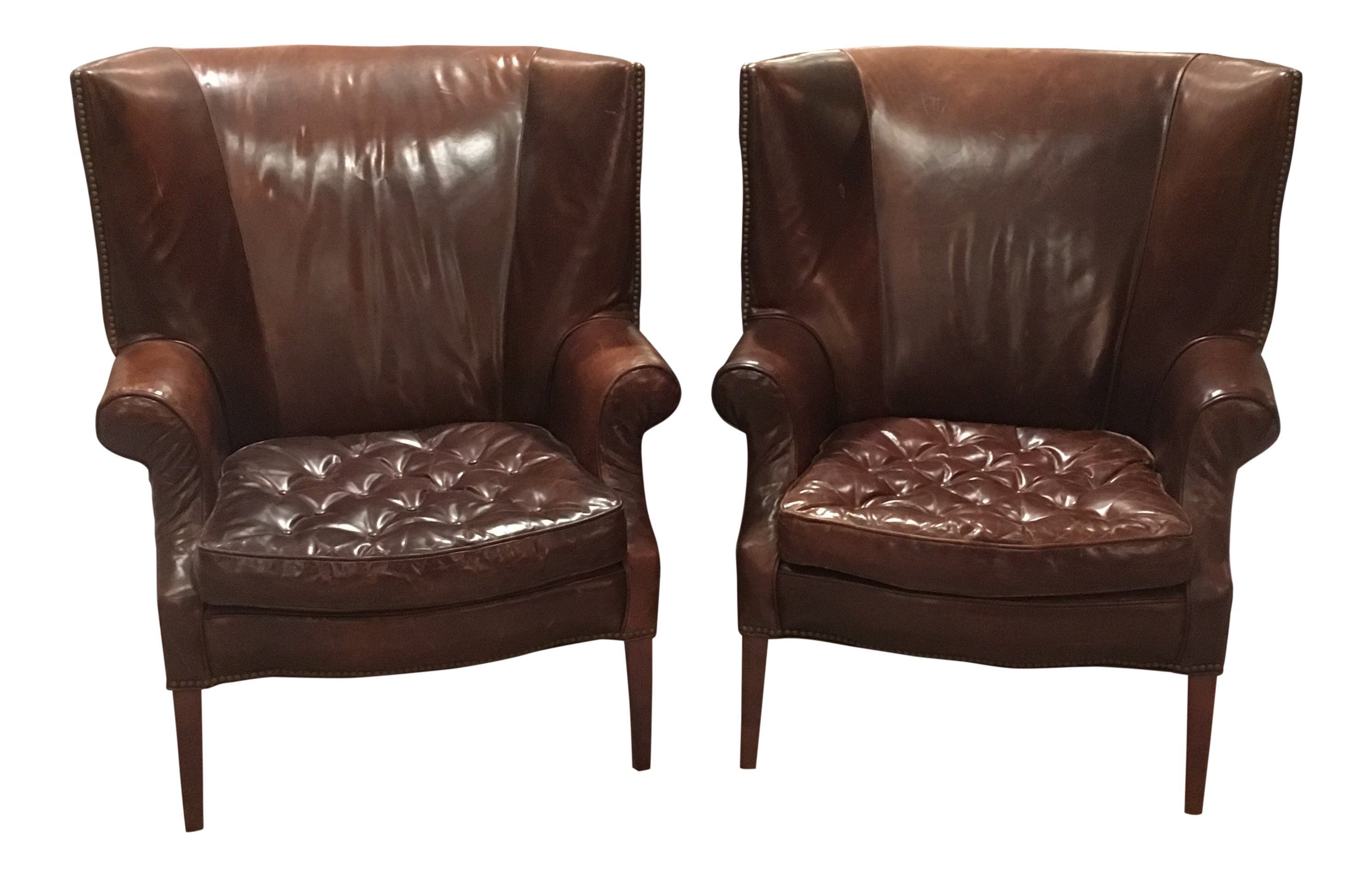 Traditional Restoration Hardware Leather Drake Wingback Chairs   A Pair For  Sale