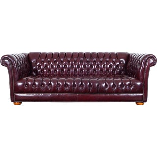 Vintage Burgundy Leather Chesterfield Sofa For Sale