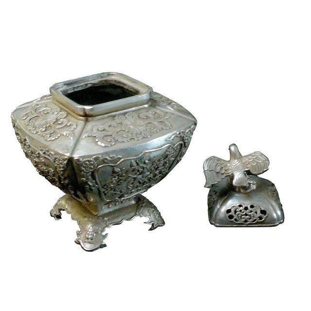 Silver Coating Artisitic Square Vase Shape Incense Burner Display For Sale - Image 4 of 6