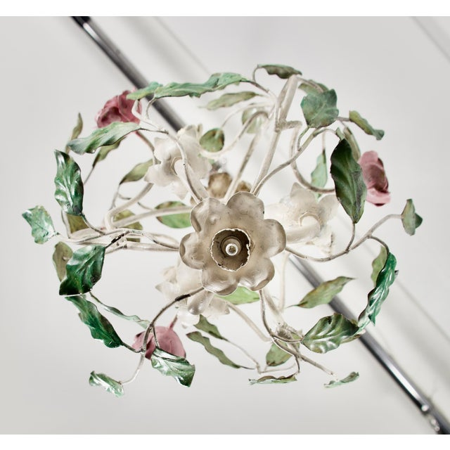 1960 Italian Tole Cage Chandelier For Sale - Image 4 of 5