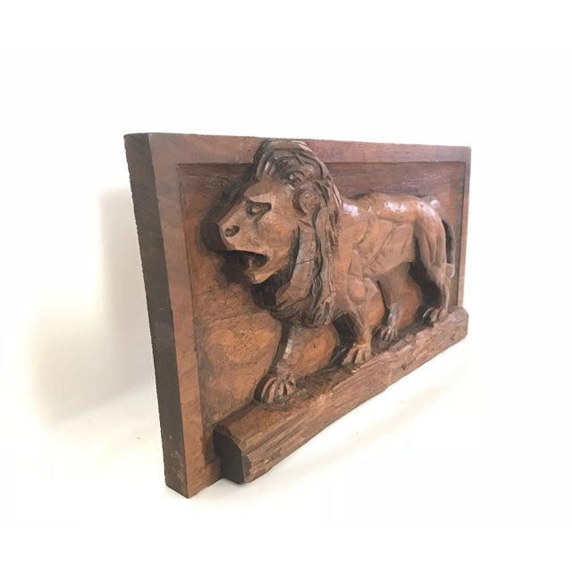 Folk Art Carved Relief Plaque of a Lion For Sale - Image 4 of 9