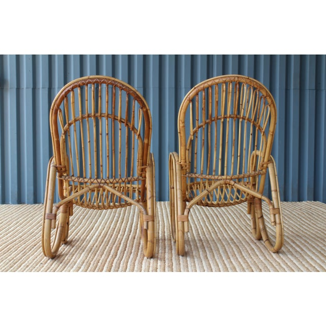 Franco Albini Pair of Bamboo Armchairs in the Style of Franco Albini, 1960s, Italy For Sale - Image 4 of 11