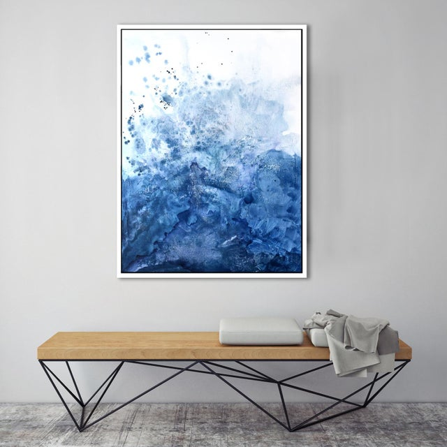 Watercolor Blue Salt Painting - 40 52 For Sale In Washington DC - Image 6 of 6
