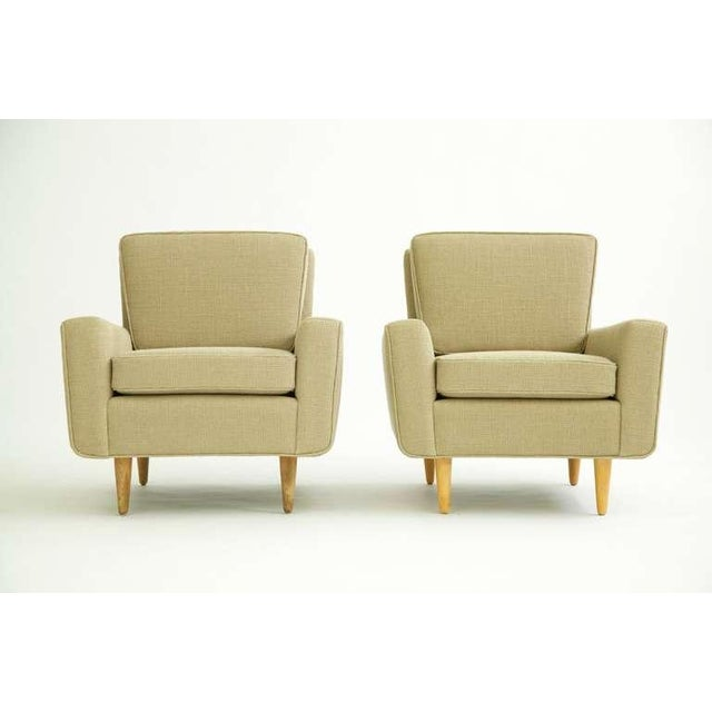 Florence Knoll for Knoll, early production pair of lounges. Stripped down and restored with new Great Plains fabric.