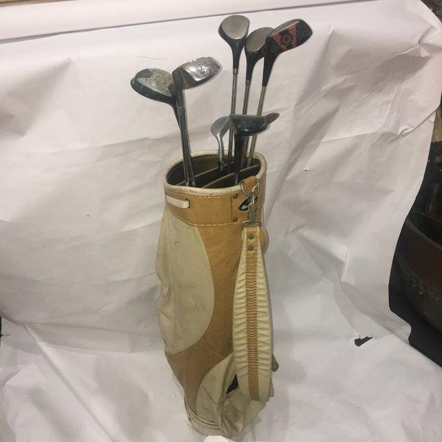 Vintage Leather & Vinyl MacGregor Golf Bag & Clubs - Set