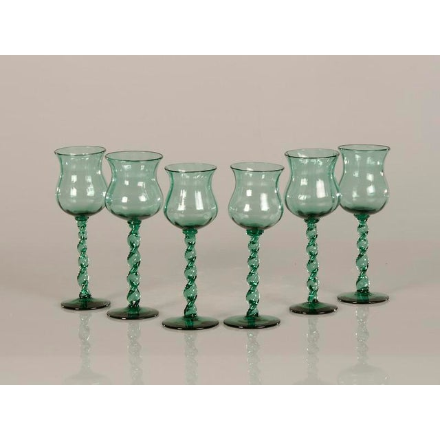 French 19th Century French Tall Hand Blown Glass Drinking Vessels - Set of 6 For Sale - Image 3 of 8
