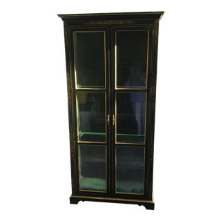 Vintage Bottle Green Chinoiserie Lighted Display Cabinet For Sale