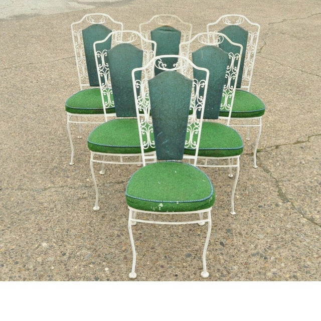 Vintage Antarenni Woodard Andalusian Style Wrought Iron Patio Dining Chairs - Set of 6 For Sale - Image 13 of 13
