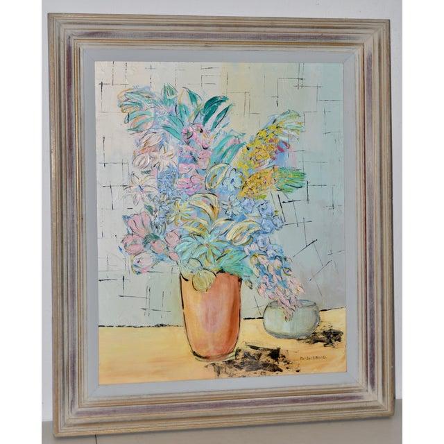 "Blue Marguerite Daniel ""Floral Still Life"" Original Oil Painting C.1960s For Sale - Image 8 of 8"