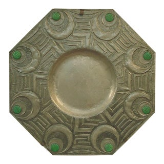 Large Hexagonal Art Deco French Pewter Serving Tray or Wall Art For Sale