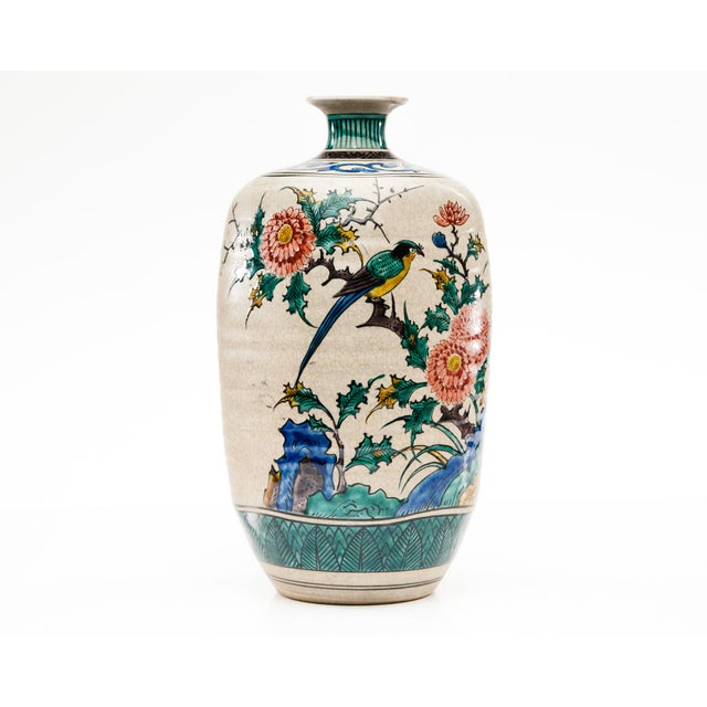 Late-20th Century Kutani Square Hand-Painted Vase For Sale In Seattle - Image 6 of 9