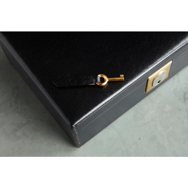 Gucci Gucci Black Leather and Red Velvet Jewelry Box From the Collection of Ann Turkel For Sale - Image 4 of 13