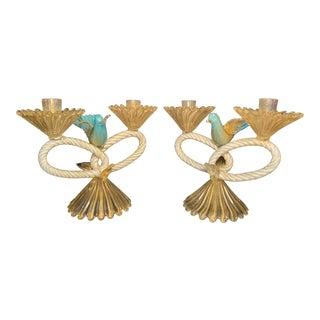 Seguso Murano Venetian Art Glass Bird Candelabra Sculptures - a Pair For Sale