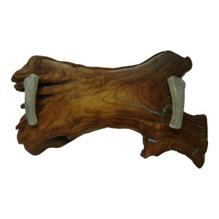 American Elmwood Live Edge Tray Chrysocolla Inlay and Polished Antler Handles For Sale