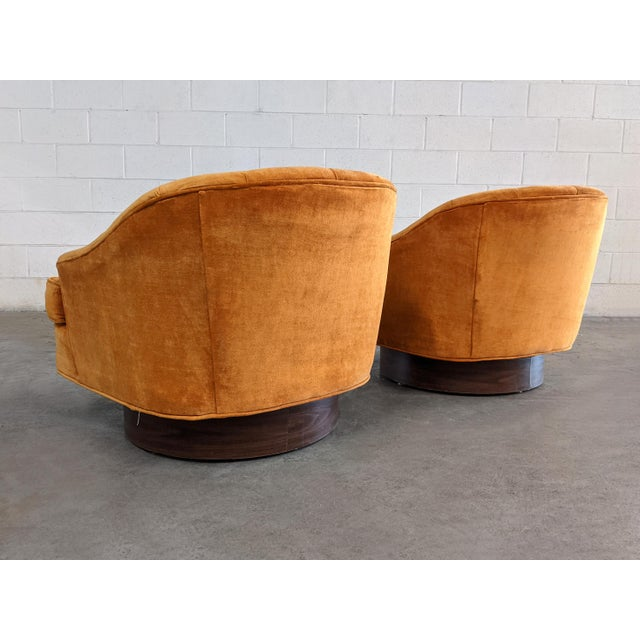 Mid-Century Modern Mid Century Modern Walnut Base Swivel Club Chairs - a Pair For Sale - Image 3 of 10