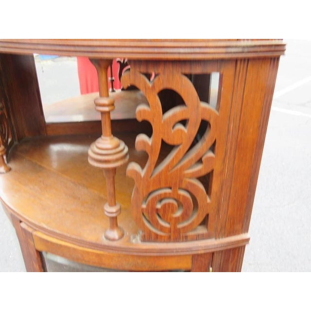 Rare Companion Pair of Oak Carved Corner Cabinets For Sale - Image 4 of 8