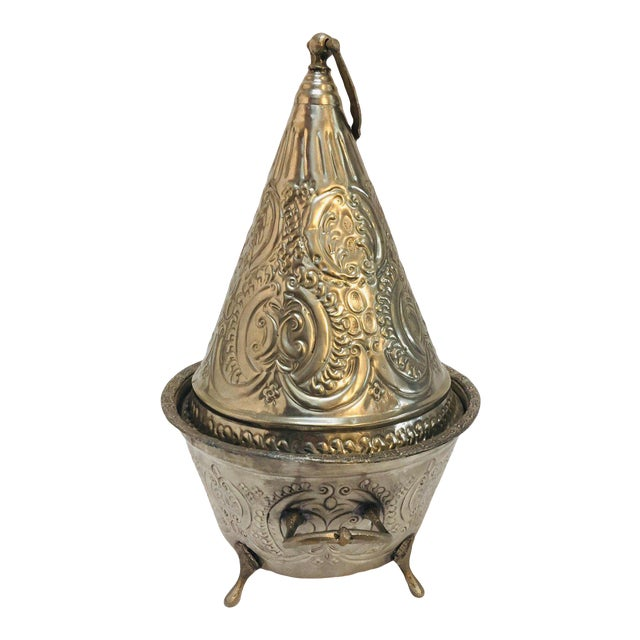 Moroccan Silver Repousse Plated Serving Dish Tajine With Cover For Sale