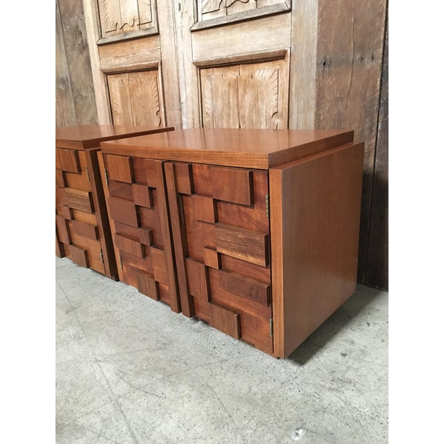 Mid 20th Century Lane Altavista Brutalist Nightstands - a Pair For Sale - Image 5 of 8