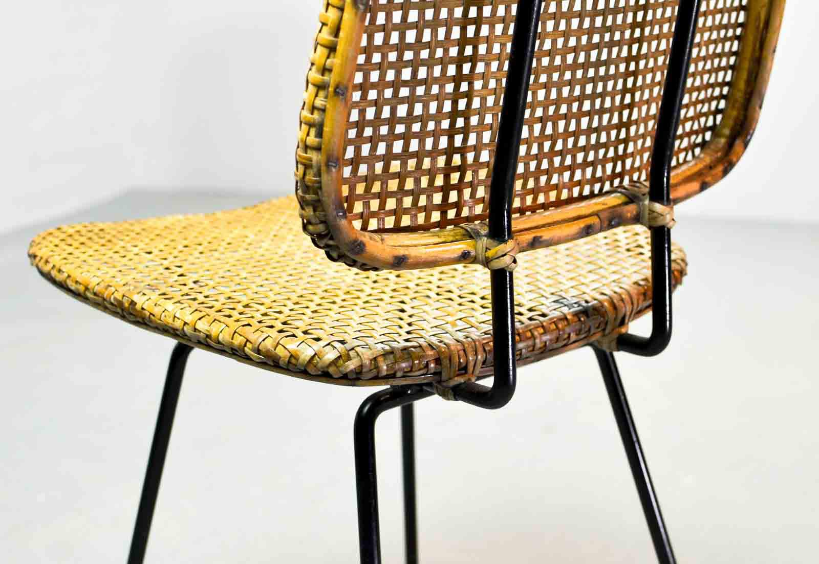 Pair Of Mid Century Dutch Design Cane Side Chairs After Dirk Van Sliedregt  For Rohé