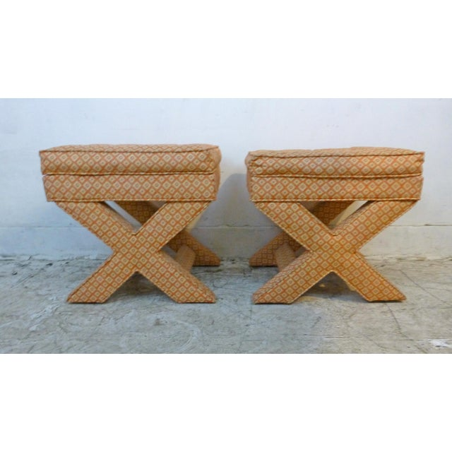 Looking for a touch of glam while getting great occasional seating? This is it! Great pair of vintage x-base upholstered...