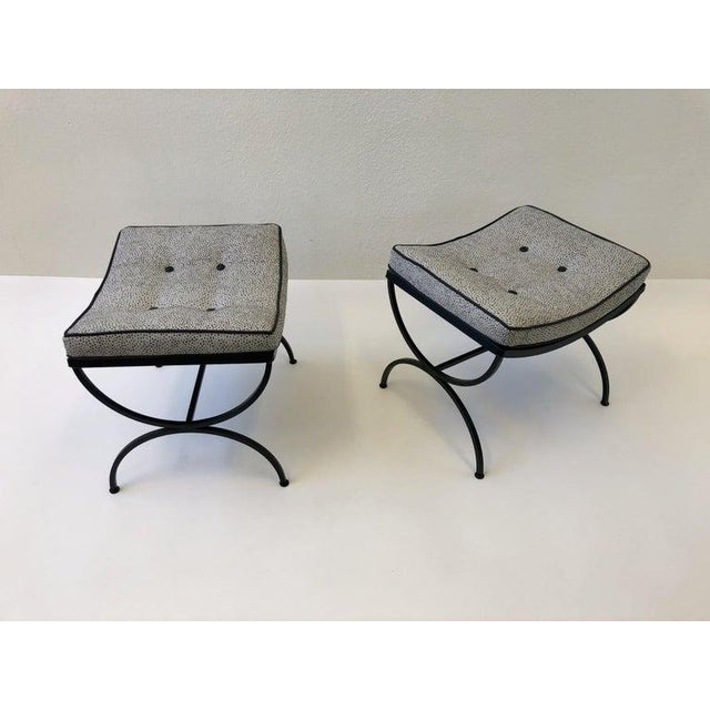1960s Black Sculptura Ottomans by Woodard - a Pair For Sale - Image 5 of 11