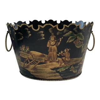 Vintage Tole Chinoiserie Cachepot For Sale