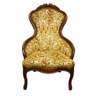 1970s Vintage Kimball Furniture Mahogany Victorian Parlor Accent Chair For Sale