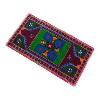 """Hand Knotted Oushak Rug. Colorful Rug, Bath Mat, Laundry Decor 1'7"""" X 2'9"""" For Sale"""