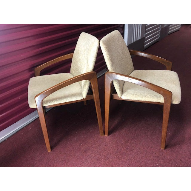 A pair of wonderfully designed Danish Chairs. Their profiles are stunning with the long, MidCentury Modern lines and...